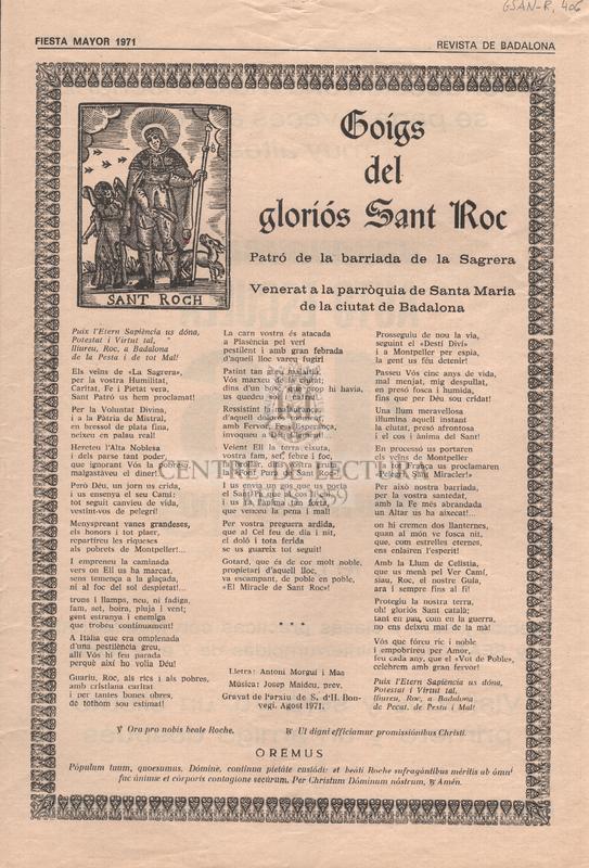Goigs del gloriós Sant Roc. Patró de la barriada de la Sagrera. Venerat a la parròquia de Santa Maria de la ciutat de Badalona