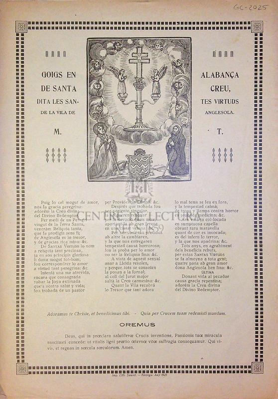 Goigs en alabança de Santa Creu, dita les santes virtuds de la vila de Anglesola