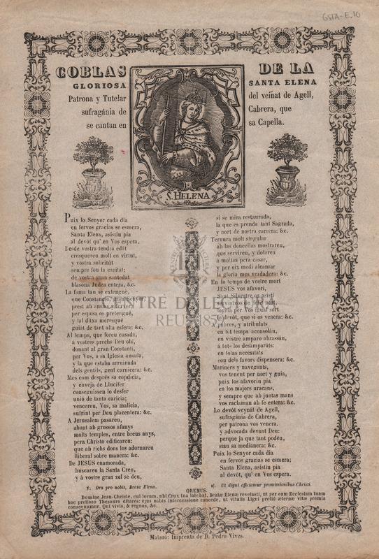 Coblas de la gloriosa Santa Elena. Patrona y Tutelar del veinat de Agell, sufragánia de Cabrera, que se cantan en sa Capella.