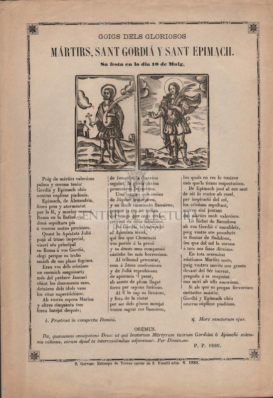 Goigs dels gloriosos Mártirs, Sant Gordiá y Sant Epimach. Sa festa en lo dia 10 de Maig