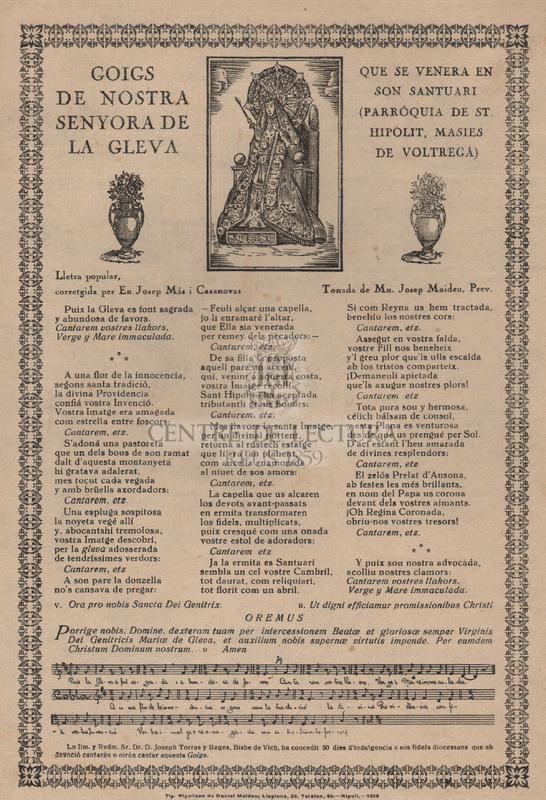 Goigs de Nostra Senyora de la Gleva que se venera en son santuari (parróquia de St. Hipólit, Masies de Voltregá)