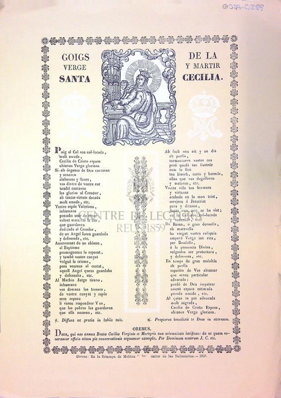 Goigs de la verge y martir Santa Cecilia