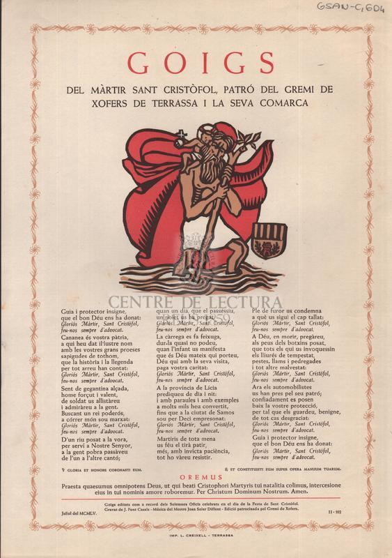 Goigs del màrtir Sant Cristòfol, patró del Gremi de Xofers de Terrassa i la seva Comarca