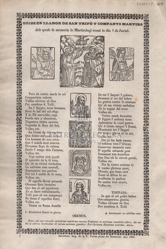 Goigs en llahor de San Trifó y companys martirs dels quals fa memoria lo Martirologi romá lo dia 3 de juriol