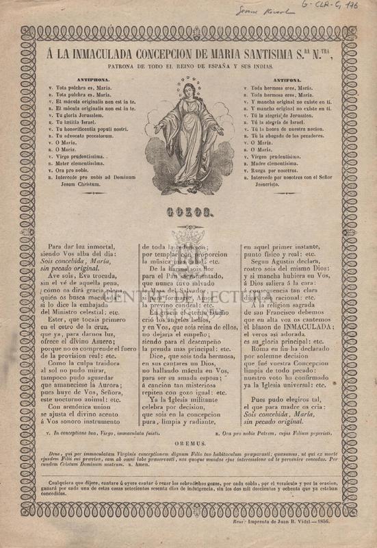 Á la Inmaculada Concepcion de Maria Santisima Sra. Ntra., Patrona de todo el reino de España y sus Indias.