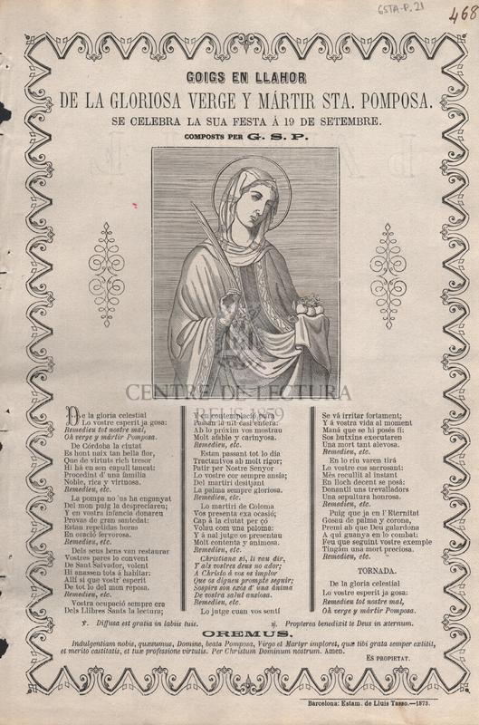 Goigs en llahor de la gloriosa verge y mártir Sta. Pomposa. Se celebra la sua festa á 19 de setembre. Compostos per G. S. P.