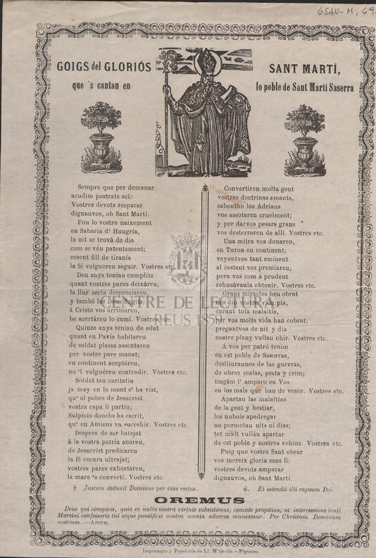 Goigs del gloriós Sant Martí, que's cantan en lo poble de Sant Martí Saserra