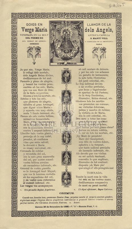 Goigs en llahor de la Verge María dels Angels, venerada en la molt antigua capella del terme de S. Martí Vell del bisbat de Gerona y edificada en la montanya anomenada Pujols