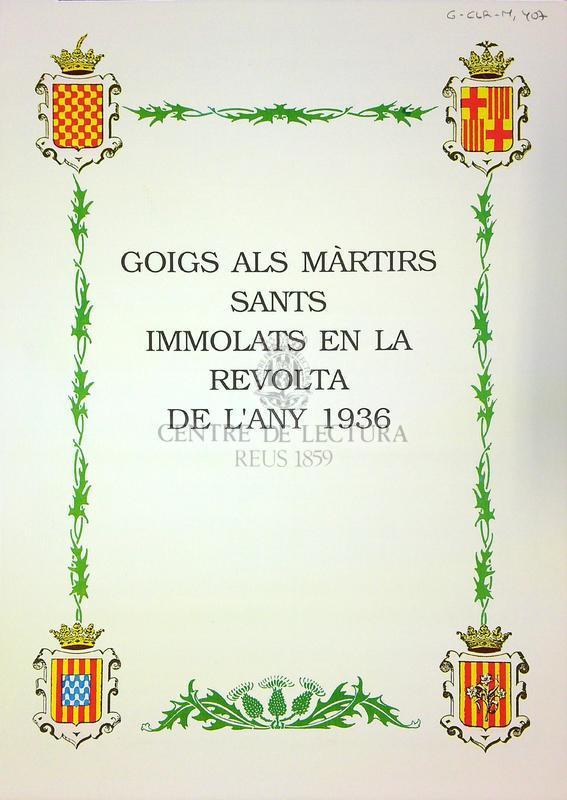 Goigs als màrtirs sants immolats a la revola de l'any 1936