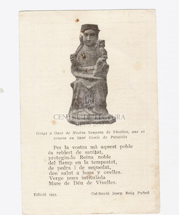 Goigs a llaor de Nostra Senyora de Vivelles, que es venera en Sant Genís de Palafolls