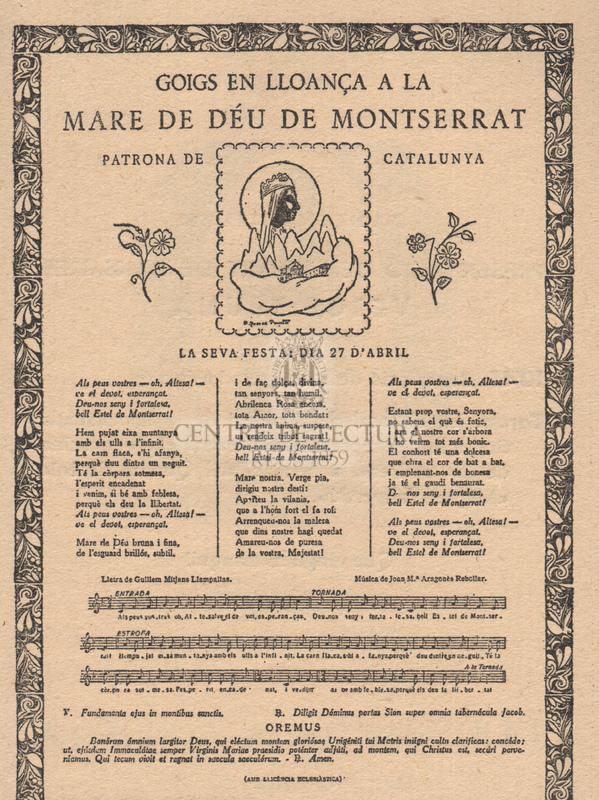 Goigs en lloança de la Mare de Déu de Montserrat Patrona de Catalunya.