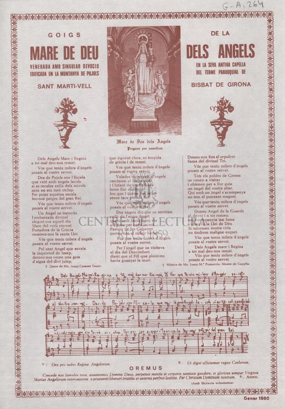 Títol<br /><br /> Goigs de la Mare de Déu dels Àngels venerada amb singular devoció en la seva antiga capella edificada en la muntanya de Pujols del terme parroquial de Sant Martí-Vell Bisbat de Girona