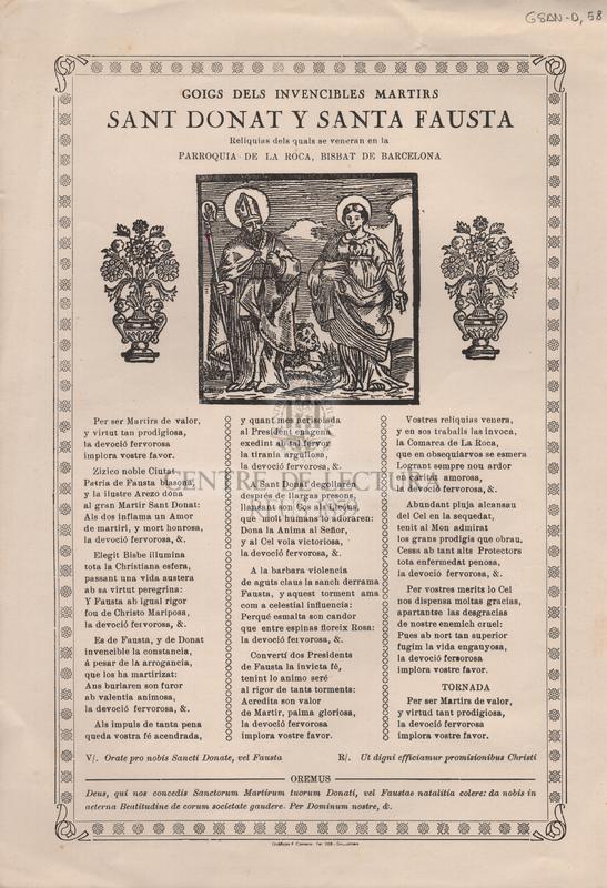 Goigs dels invencibles martirs Sant Donat y Santa Fausta Reliquias dels quals se veneran en la Parroquia de la Roca, Bisbat de Barcelona.