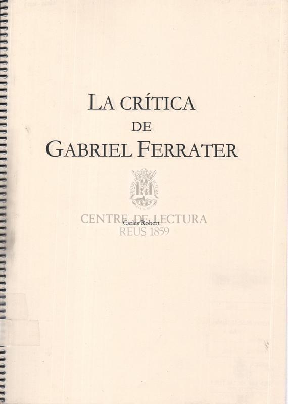 La Crítica de Gabriel Ferrater