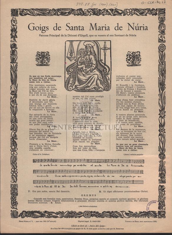 Goigs de Santa Maria de Núria Patrona Principal de la Diòcesi d'Urgell, que es venera al seu Santuari de Núria.
