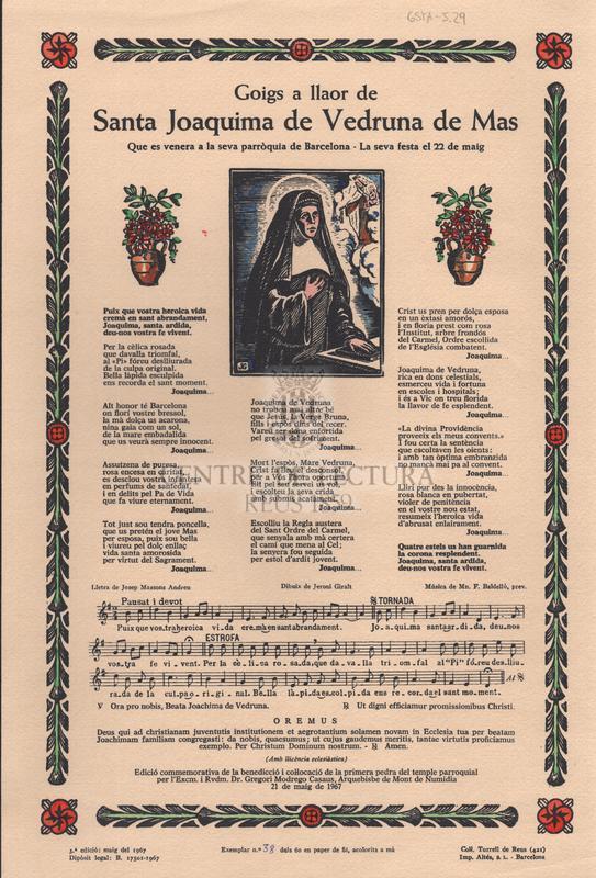 Goigs a llaor de Santa Joaquima de Vedruna de Mas. Que es venera a la seva parròquia de Barcelona - La seva festa el 22 de maig