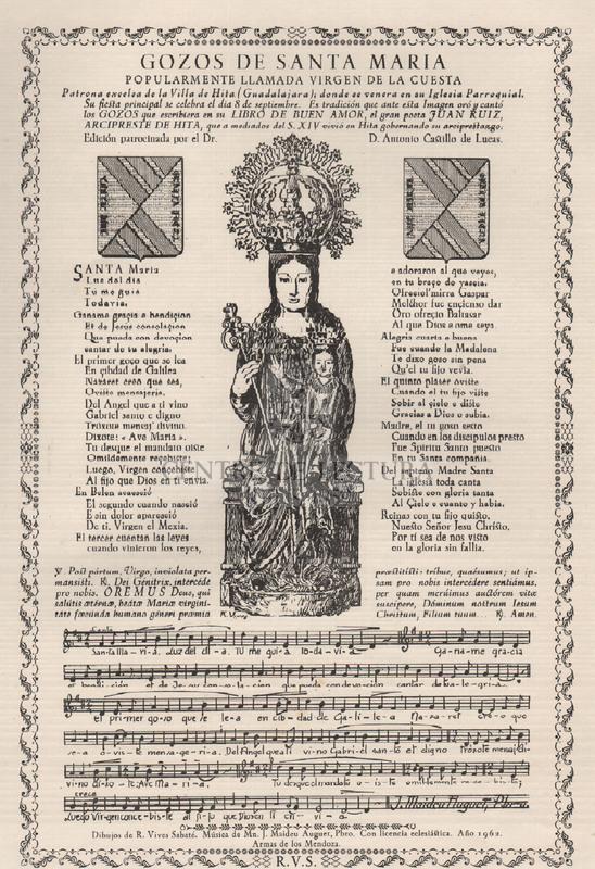 Gozos de Santa Maria popularmente Virgen de la Cuesta patrona excelsa de la Villa de Hita (Guadalajara); donde se venera en su Iglesia Parroquial.
