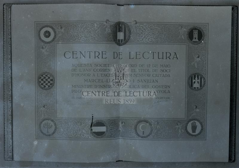 Diploma de Soci d'Honor a Marcel·lí Domingo