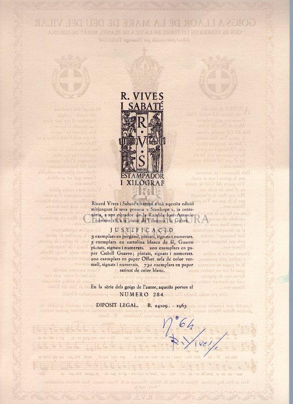 Goigs a llaor de la Mare de Déu del Vilar que es venera en lo terme de la Vila de Blanes, Bisbat de Girona