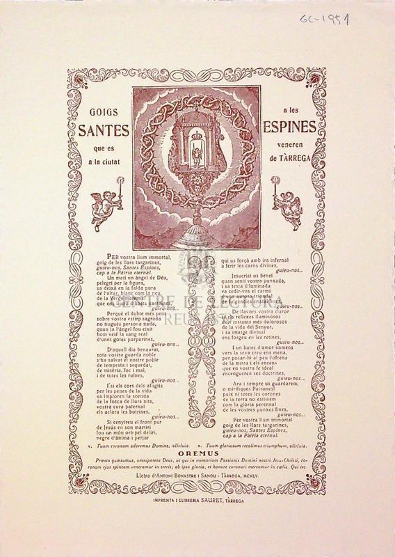 Goigs a les Santes Espines que es venera a la ciutat de Tàrrega