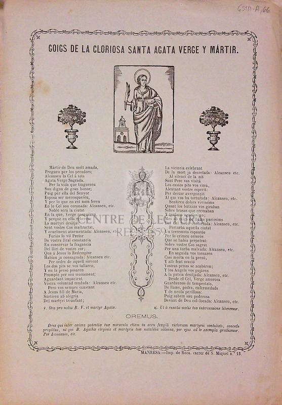 Goigs de la gloriosa Santa Agata verge y mártir