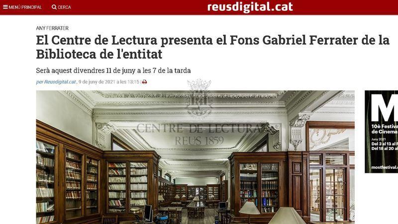 El Centre de Lectura presenta el Fons Gabriel Ferrater de la Biblioteca de l'entitat