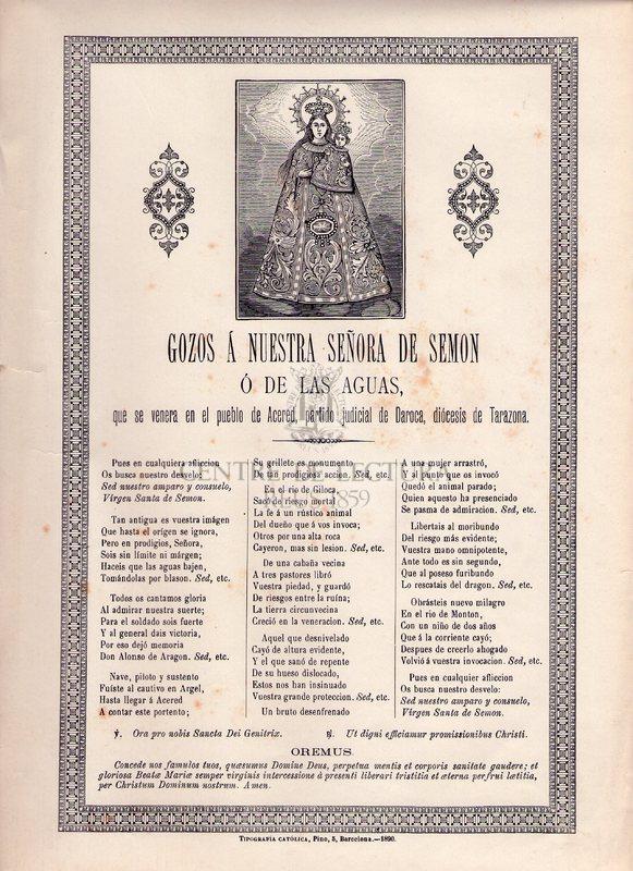 Gozos á Nuestra Señora de Semon ó de lasAguas, que se venera en el pueblo de Acered, partido judicial de Daroca, diócesis de Tarazona