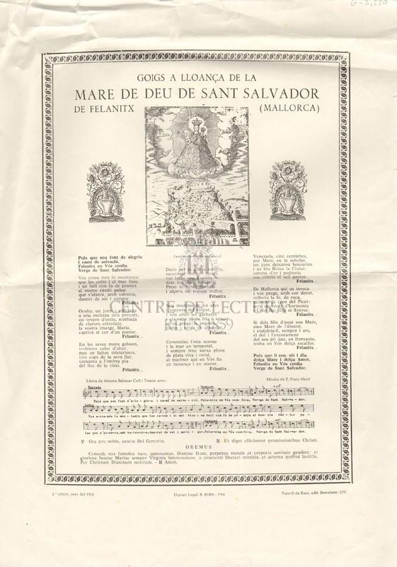 Goigs a lloança de la Mare de Déu de Sant Salvador de Felanitx (Mallorca)