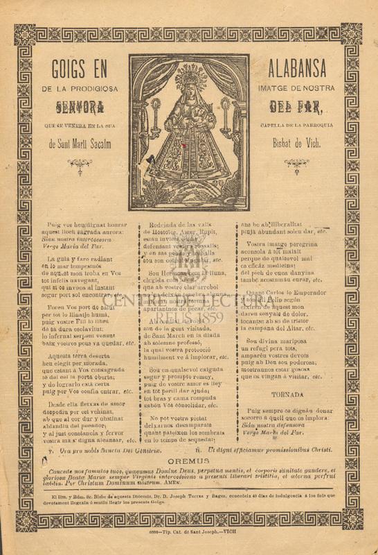Goigs en alabansa de la prodigiosa imatge de nostra senyora del Far, que es venera en la sua capella de la parròquia de Sant Martí Sacalm, Bisbat de Vich