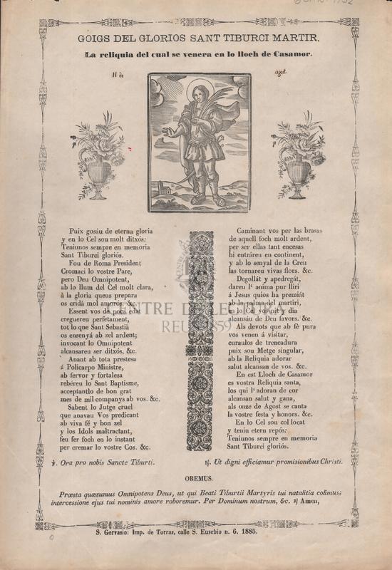 Goigs del glorios Sant Tiburci martir. La reliquia del cual se venera en lo lloch de Casamor