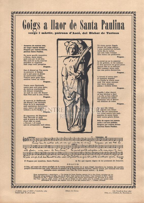 Goigs a llaor de Santa Paulina verge i màrtir, patrona d'Ascó, del Bisbat de Tortosa