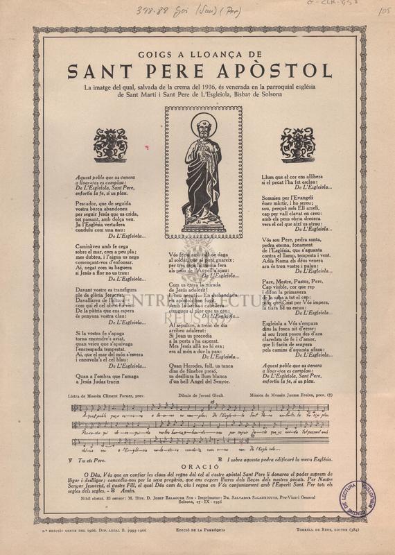 Goigs a lloança de sant Pere apòstol la imatge del qual, salvada de la crema del 1936, és venerada en la parroquial església de Sant Martí i Sant Pere de L'Esgleiola, Bisbat de Solsona.