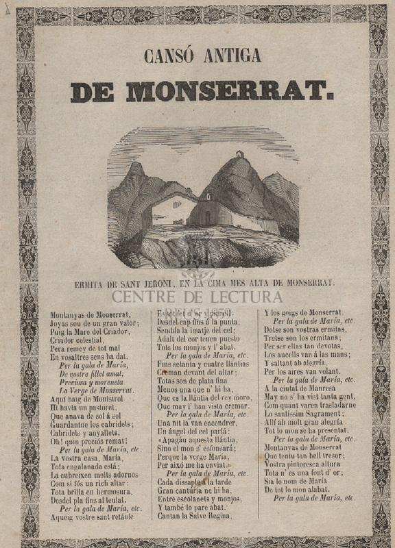 Cançó antiga de Montserrat. Ermita de Sant Jeroni, en la cima mes alta de Montserrat