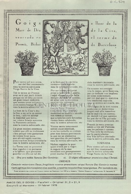Goigs a llaor de la Mare de Déu de la Cisa, venerada en el terme de Premià, Bisbat de Barcelona