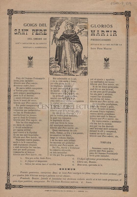 Goigs del gloriós Sant Pere Martir del ordre de predicadors que's cantaven en sa ermita situada en lo mes alt de la montanya anomeanda Sant Pere Martir.