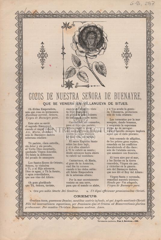 Gozos de Nuestra Señora de Buenayre que se venera en villanueva de sitjes
