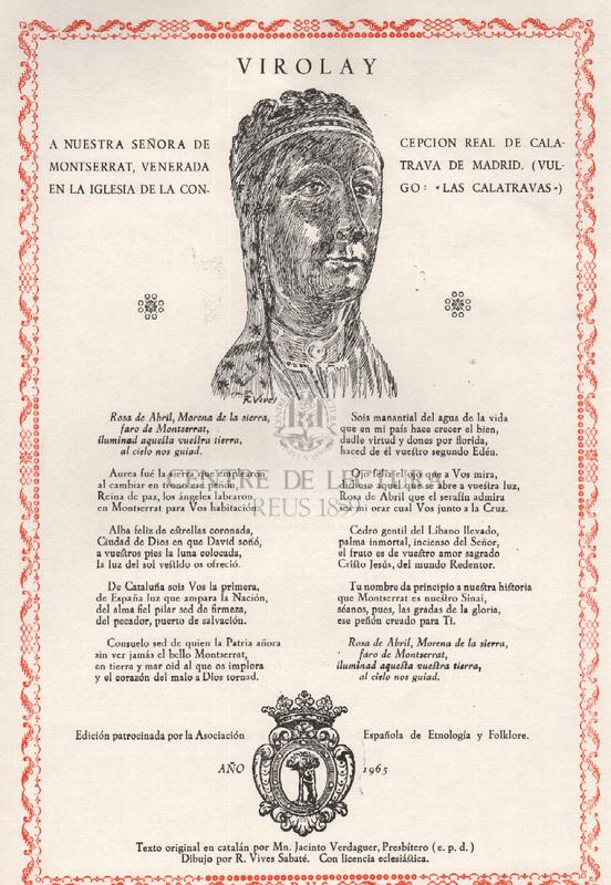 Virolay a Nuestra Señora de Montserrat, venerada en la iglesia parroquial de la Concepcion Real de Calatrava de Madrid (Vulgo: Las Calatravas)
