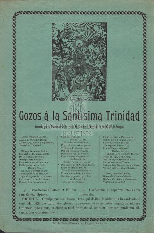 Gozos á la Santísima Trinidad venerada por su Hermandad en la Iglesia del Seminario Sacerdotal de San Carlos de Zaragoza