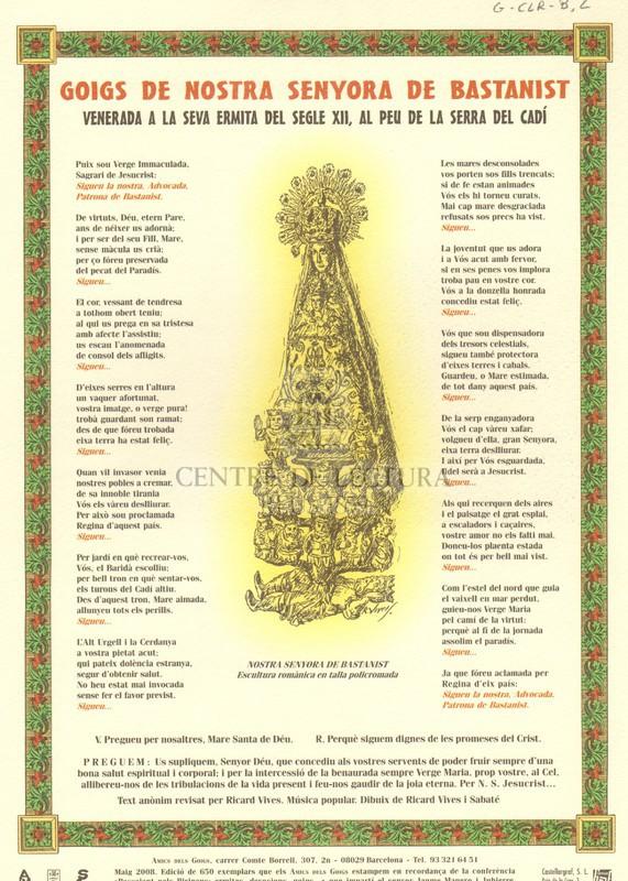 Goigs de Nostra Senyora de Bastanist, venerada a la seva ermita del segle XII, al peu de la Serra del Cadí