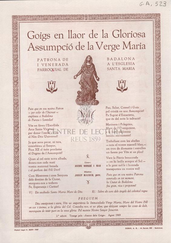 Goigs en llaor de la Gloriosa Assumpció de la Verge Maria patrona de Badalona i venerada a l'Esglèsia parroquial de Santa Maria