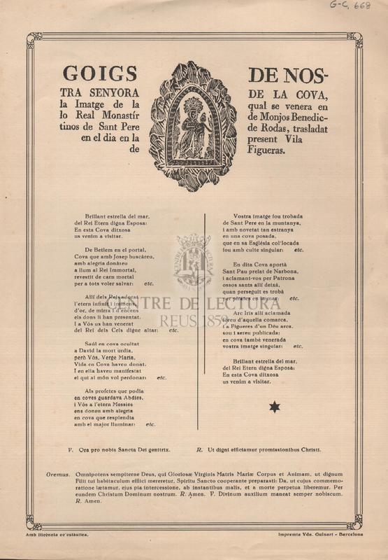 Goigs de Nostra Senyora de la Cova, la Imatge de la qual se venera en lo Real Monastír de Monjos Benedictinos de Sant Pere de Rodas, trasladat en el dia en la present vila de Figueras.