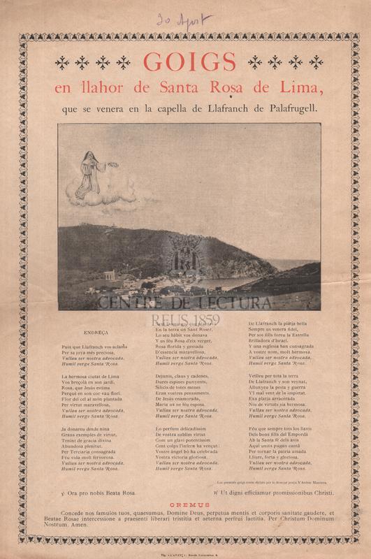 Goigs en llahor de Santa Rosa de Lima, que se venera en la capella de Llafranch de Palafrugell