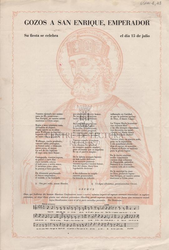 Gozos a San Enrique, Emperador. Su fiesta se celebra el día 15 de julio.