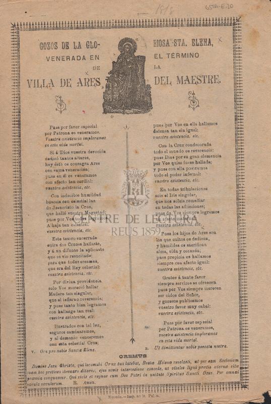 Gozos de la gloriosa Sta. Elena, venerada en el término de la villa de Ares del Maestre.