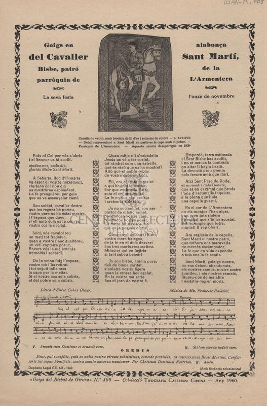 Goigs en alabança del Cavaller Sant Martí, Bisbe, patró de la parròquia de l'Armententera. La seva festa l'onze de novembre