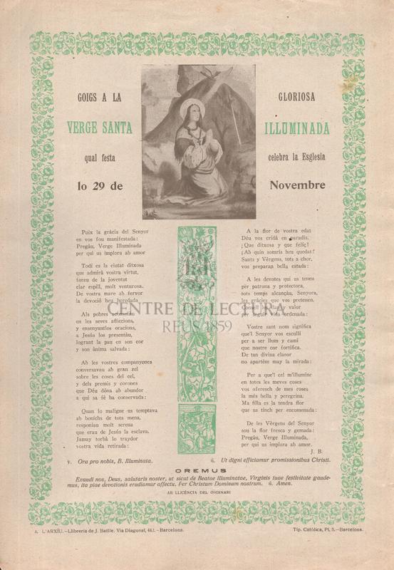 Goigs a la gloriosa verge santa Iluminada, qual festa celebra la Esglesia lo 29 de Novembre