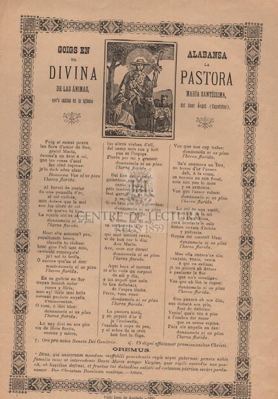 Goigs en alabansa de la Divina Pastora de les Animes, Maria Santíssima, que es canten en l'Església del Sant Angel (Caputxins)