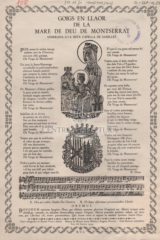 Goigs en llaor de la Mare de Deu de Montserrat venerada a la seva capella de Sanilles.