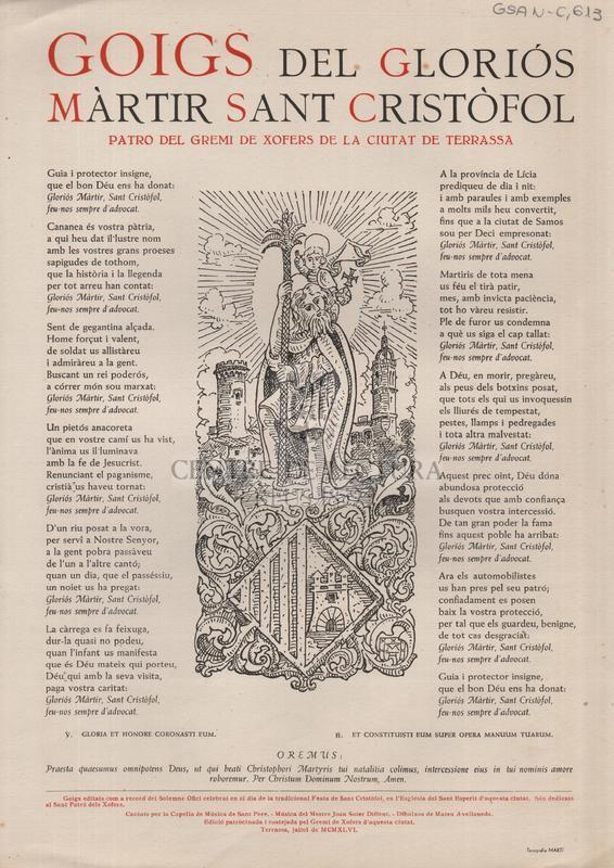 Goigs del gloriós màrtir Sant Cristòfol patró del Gremi de Xòfers de la ciutat de Terrassa