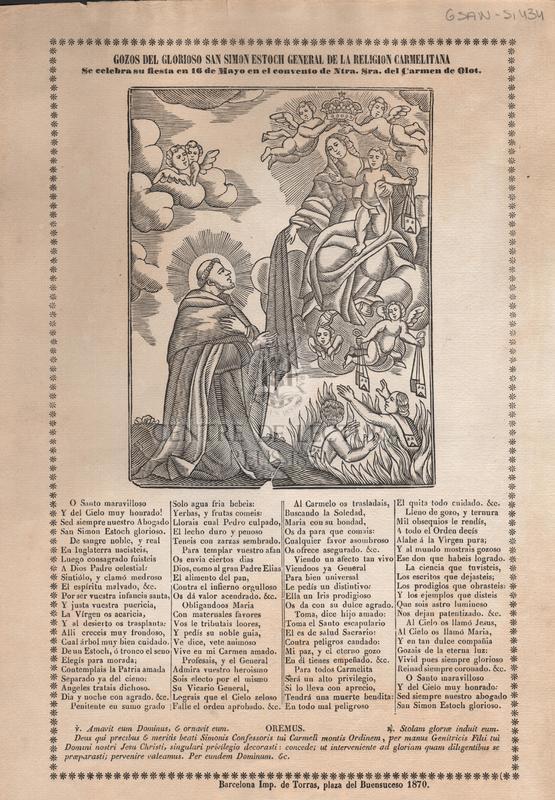 Gozos del glorioso San Simon estoch de la religion carmelitana se celebra su fiesta en 16 de Mayo en el convento de Ntra. Sra. del Carmen de Olot